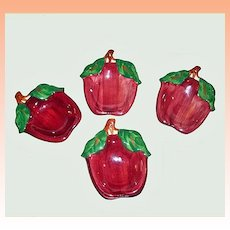 Franciscan Ware Apple Tea Bag Holders Spoon Rests Ashtrays  Set of 4