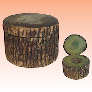 Old Wood Treen Hinged Lidded Inkwell
