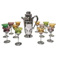 Morgantown Glass Cocktail Glasses with Cocktail Shaker