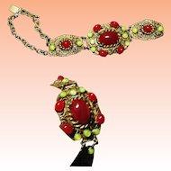 Art Nouveau Brass and Carnelian Glass Filigree Bracelet  C1890-1910