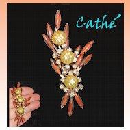 Cathe' Faux Pearl Navette Rhinestone Brooch