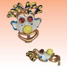 Enamel 3D Mardi Gras Clown Face Brooch