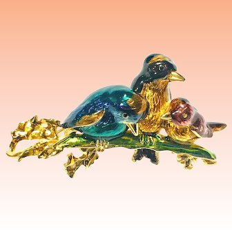 Gold Plated Guilloche Enamel 3D Cuddling Birds on Branch Brooch