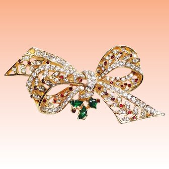 Large Christmas Rhinestone Bow Brooch