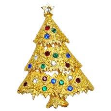 Eisenberg Ice Rhinestone Christmas Tree Brooch