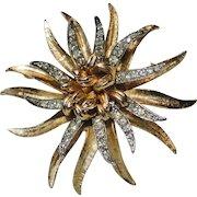 Coro Pave Rhinestone Two Tone Dimensional Flower Brooch