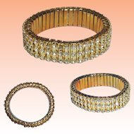 Clear Crystal Rhinestone Gold Tone Expansion Bracelet