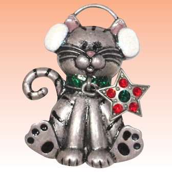 Kenneth Cole Christmas Cat Rhinestone Star Dangle Brooch