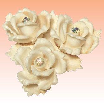 Celluloid Roses with  Aurora Borealis Rhinestones Brooch