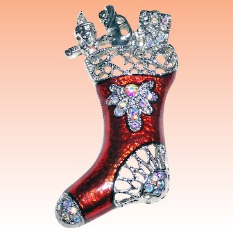 Red Christmas Stocking Filled Toys AB Rhinestones Brooch