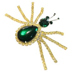 Green Rhinestone Yellow Satin Glass Spider Brooch-  Huge