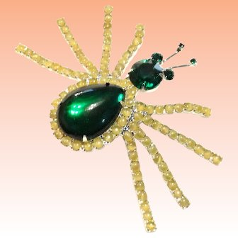 Green Rhinestone Yellow Satin Glass Spider Brooch-  Huge