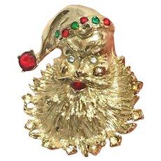 Santa Face Rhinestone Studded Beard Brooch