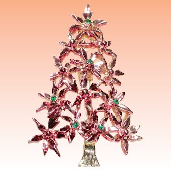 Tancer  Pink Enamel Rhinestones Christmas Tree Brooch