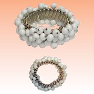 White Cha Cha Milk Glass Bead Expansion Bracelet Japan