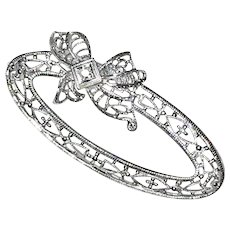 10K White Gold Diamond Oval Bow Brooch