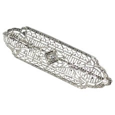 10K White Gold Art Deco Diamond Bar Brooch