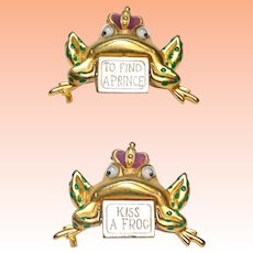 Danecraft To Find A Prince Kiss A Frog Spinner Brooch