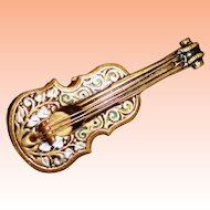 Damascene  Floral Guitar Brooch