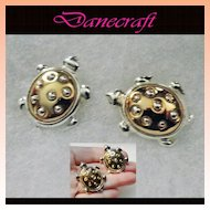 Danecraft Two Tone Rhinestone Turtle Brooches