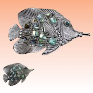 Pewter Lucite Abalone Rhinestone Fish Brooch