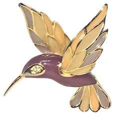 Hummingbird Enamel Gold Tone Brooch