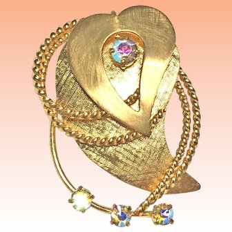 Stylized Layered Heart Gold Plated Rhinestone Brooch West Germany