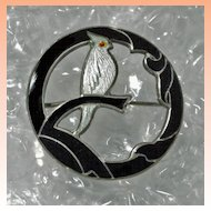 Sterling Silver Bird Black Enamel Brooch   Signed Hermann