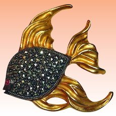 Judith Jack Sterling Silver and Gold Vermeil Marcasite Fish Brooch