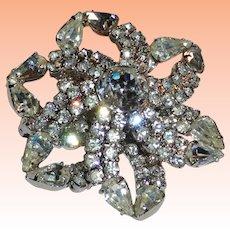 Kramer Clear Crystal Rhinestone Open Flower Brooch  ITEM PRICE: