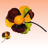 Lisner Flower Enamel Flower Brooch Orange Brown Green Black