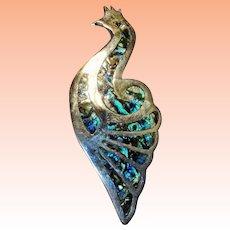 Sterling Peacock Abalone Paua Shell Brooch   Mexico