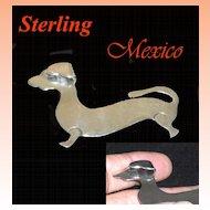 Vintage Sterling Silver Dachshund Dog Brooch
