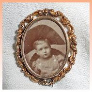 Victorian Two Tone Portrait Brooch Gold Filled
