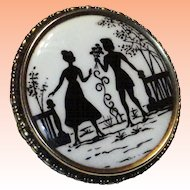 """Victorian Reverse Painted Silhouette Brooch Old """"C"""" Clasp  1800's"""