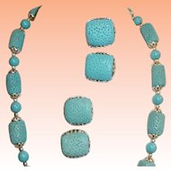 Blue Tridacna Shell Necklace Earrings Set  Japan