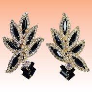 Huge Black and Clear Rhinestone Navette Baguette Clip On Earrings