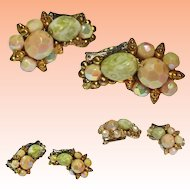 Hobe Rhinestone Pastel Art Glass Ear Climber Earrings Signed