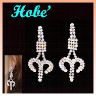 Hobe Clear Rhinestone Dangle Earrings Long 2.78""