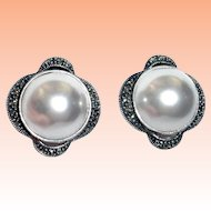 Judith Jack Faux Pearl Marcasite Sterling Silver Earrings