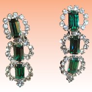 Kramer Emerald Green Baguette Clear Chaton Rhinestone Dangle Earrings