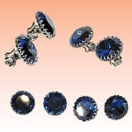 Large Solitaire Sapphire Blue Rhinestone Clip On Earrings