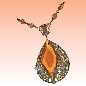 Czechoslovakian Enamel and Topaz Glass Necklace