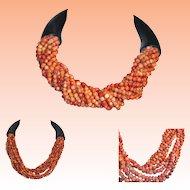 Orange Coral Bead Sautoir Necklace  Black Ends and Clasp