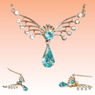 Van Dell Blue Aquamarine Rhinestone Gold Fill Necklace