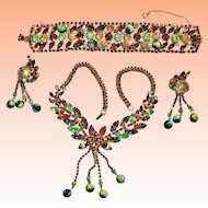 Juliana Fun Beads Watermelon Rhinestone Necklace Bracelet Earrings Parure