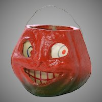 Vintage Halloween Smiling Pumpkin Lantern Circa 1950