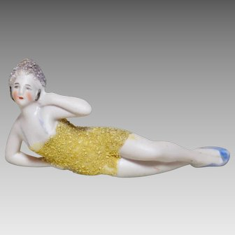 German Hertwig Bathing Beauty Bisque Doll With Sand Circa 1920