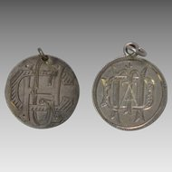 Antique Victorian Love Token Silver Charms, Seated Liberty Dimes 1876, 1885