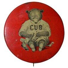 Chicago Cubs Baseball Advertising Pin back Button 1910, Cub Shoeshine Polish